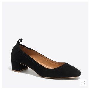 NIB JCREW Anya suede block heels BLACK 6.5